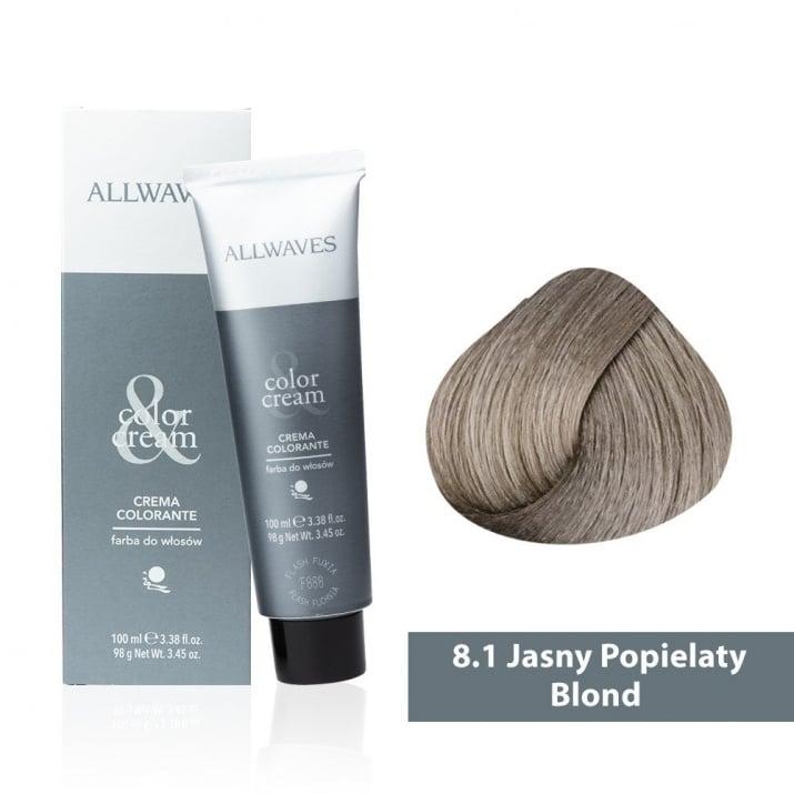 Боя за коса Allwaves Color Cream 100мл + 150мл оксидант 8/1 Пепелно светлорусо