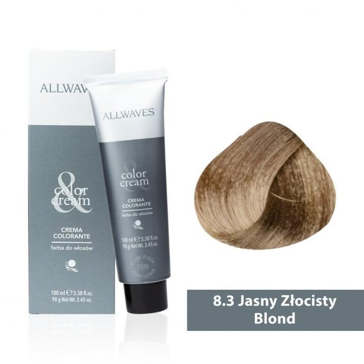 Боя за коса Allwaves Color Cream 100мл + 150мл оксидант 8/3 Светло златисто русо
