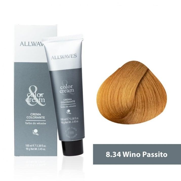 Боя за коса Allwaves Color Cream 100мл + 150мл оксидант 8/34 Пасито