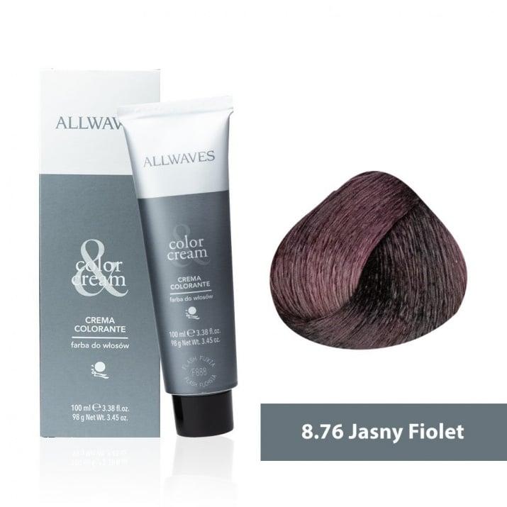 Боя за коса Allwaves Color Cream 100мл + 150мл оксидант 8/76 Светло виолетово