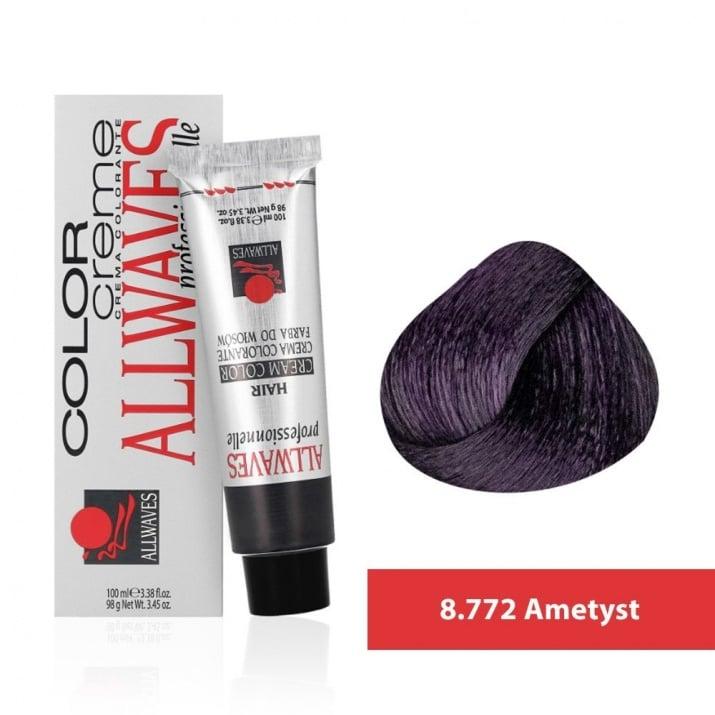 Боя за коса Allwaves Color Cream 100мл + 150мл оксидант 8/772 Аметист