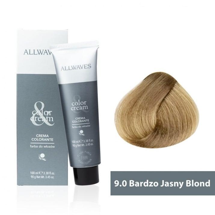 Боя за коса Allwaves Color Cream 100мл + 150мл оксидант 9/0 Ултра светлорусо