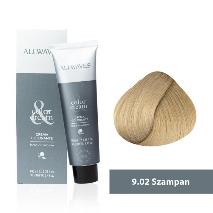 Боя за коса Allwaves Color Cream 100мл + 150мл оксидант 9/02 Шампанско