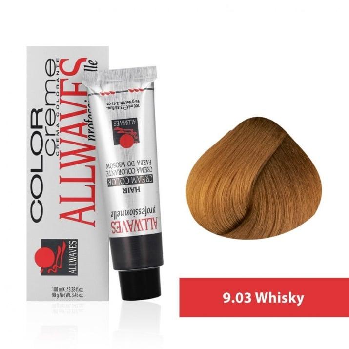Боя за коса Allwaves Color Cream 100мл + 150мл оксидант 9/03 Уиски