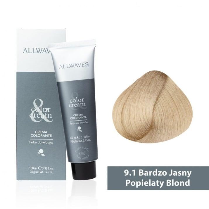Боя за коса Allwaves Color Cream 100мл + 150мл оксидант 9/1 Пепелно ултра светлорусо