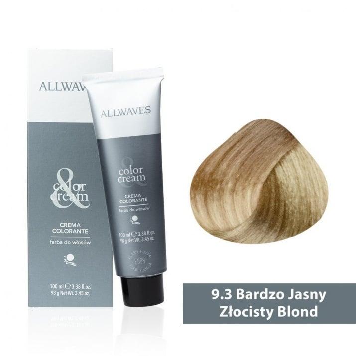 Боя за коса Allwaves Color Cream 100мл + 150мл оксидант 9/3 Ултра светло златисто русо