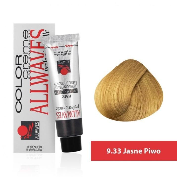 Боя за коса Allwaves Color Cream 100мл + 150мл оксидант 9/33 Светла бира