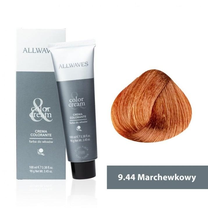 Боя за коса Allwaves Color Cream 100мл + 150мл оксидант 9/44 Морков
