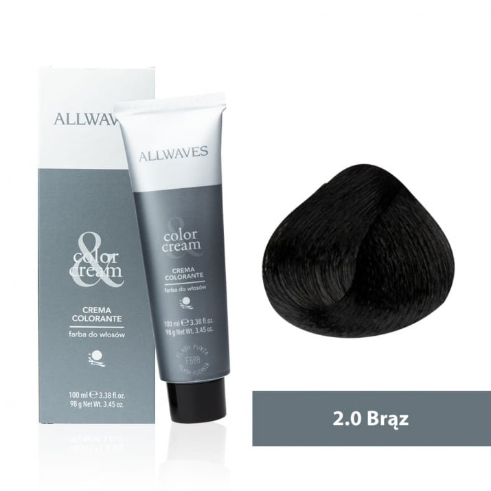 Боя за коса Allwaves Color Cream 100мл + 150мл оксидант 2/0 Кафяво