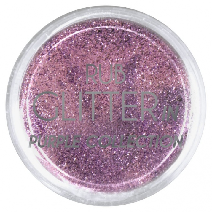 RUB GLITTER -  6 + 1 ПОДАРЪК Брокатна пудра 50 цвята RUB GLITTER: Rub Glitter in Purple Collection - 1