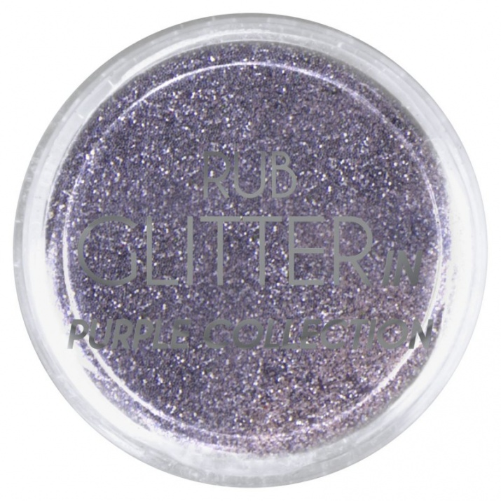 RUB GLITTER -  6 + 1 ПОДАРЪК Брокатна пудра 50 цвята RUB GLITTER: Rub Glitter in Purple Collection - 3