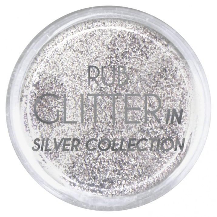 RUB GLITTER -  6 + 1 ПОДАРЪК Брокатна пудра 50 цвята RUB GLITTER: Rub Glitter in Silver Collection - 1